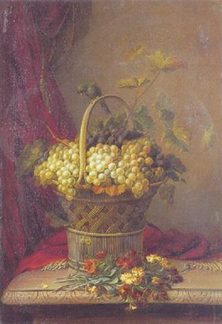 opstilling med druer og blomster på et bord by jean baptiste joannes cornillon