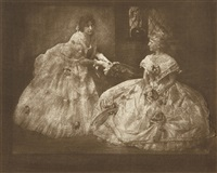 two ladies in formal wedding dress by gertrude kasebier