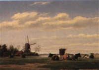 paysage en hollande by jan zeeuw van den laan