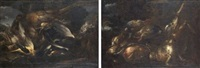 nature morte à la chouette et au faisan (nature morte au lièvre et à la perdrix grise; pair) by felice boselli