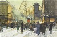porte saint martin, paris sous la neige by eugène galien-laloue