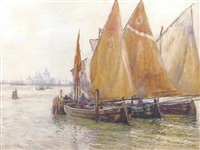 fishing boats in the lagoon, venice by robert weir allen