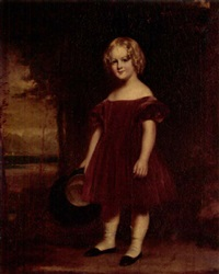 portrait of a girl in a red dress, holding a hat, the clyde beyond by j. dunn