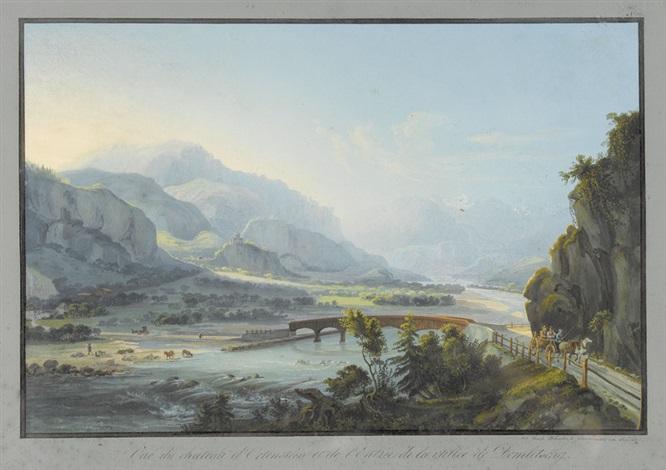 vue du château dortenstein et de lentrée de la vallée domletschg by johann ludwig louis bleuler