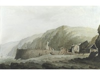 clovelly pier from the west by john warwick smith