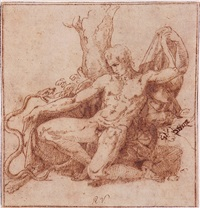 hercules kneeling before a snake by giovanni francesco penni