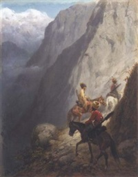 mounted cossacks in the mountains by konstantin nikolaevich filippov