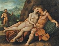 apollon et vénus, dans un paysage montagneux, marsyas en arrière plan by hendrick de clerck