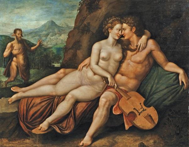 apollon et vénus dans un paysage montagneux marsyas en arrière plan by hendrick de clerck