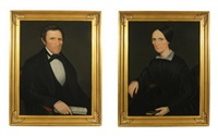 hon. sen. john henry hubbard and julia hubbard of litchfield county (2 works) by ammi phillips