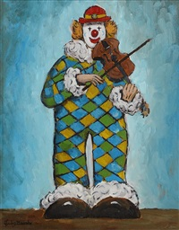 clown playing a tune by gladys maccabe