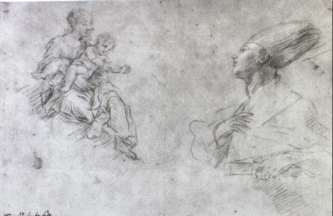 studies of the madonna and child and st januarius by fabrizio santafede
