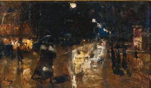 rainy berlin street by lesser ury
