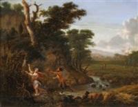 nymphe et satyre dans un paysage de rivière by jan gabrielsz sonje
