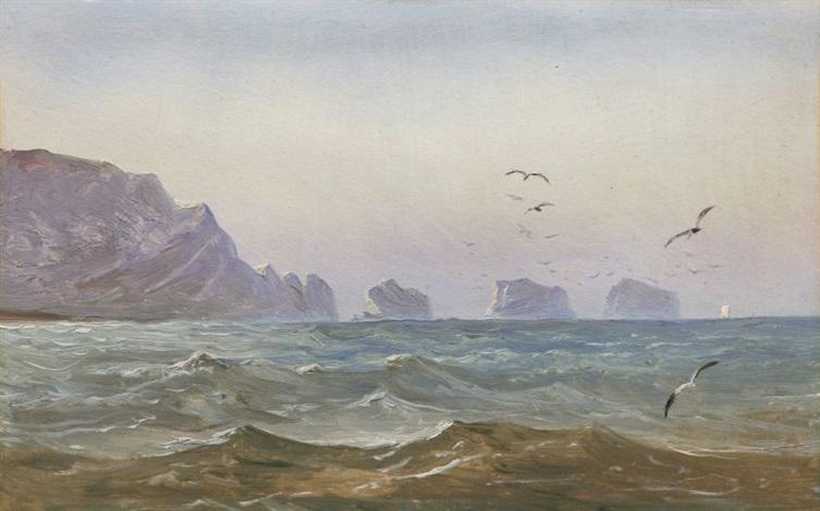 seestück mit felsen (the needles, isle of wight, im gegenlicht) by carl gustav carus