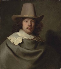portrait of abraham velters (1603-1690), half-length, in a grey cloak and lace collar, wearing a hat by jacob adriaensz de backer