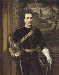 portrait of frederic carne rasch (1847-1914), standing three-quarter-length, in the uniform of the 6th dragoons by william maw egley