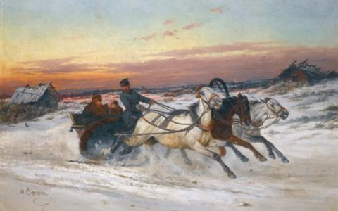 troika at sunset by nikolai egorovich sverchkov