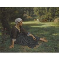 jeune fille gardant des vaches by jules breton