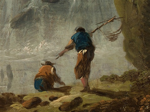 fisherman at a waterfall by jean baptiste pillement