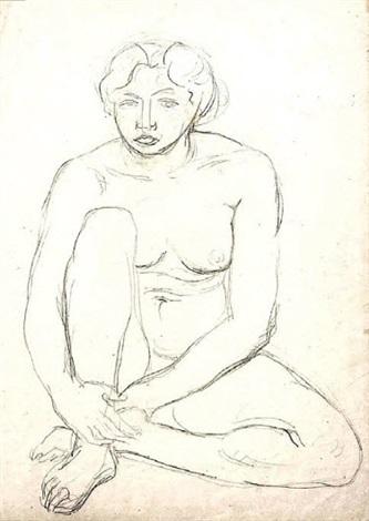 nu féminin assis la jambe gauche repliée derrière le talon droit la jambe droite repliée les bras entourant la cheville droite by charles despiau