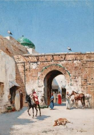 cavalier à lentrée dune ville en afrique du nord by victor pierre huguet