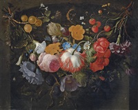 a swag of flowers hanging in a niche by pieter gallis