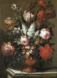 roses, tulips, lilies and other flowers in a terracotta vase on a stone ledge by gaspar pieter verbrüggen the elder