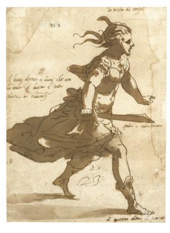 costume design for a female figure in a masquerade by luca cambiaso