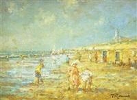 niños jugando en la playa by pierre renard