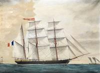 portrait du trois-mâts isabelle croisant un bateau feu by auguste avrillaud