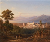 blick auf castello aragonese di reggio calabria mit blick auf den aetna by henry jackel