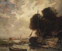 dutch river barge by james campbell noble