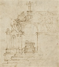 study of an ornamented chapel with a central tomb by antonio da sangallo the younger