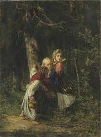 peasant girls in the forest by alekseï ivanovich korzukhin