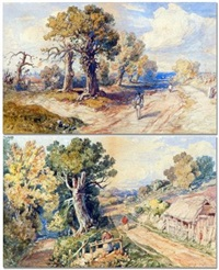 figures in country lane (+ another; pair) by john joseph cotman