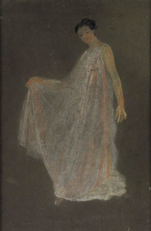 standing woman in a flowing white robe by arthur bowen davies