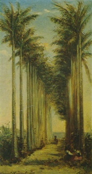 allée de palmiers animée de personnages by charles edmond renault