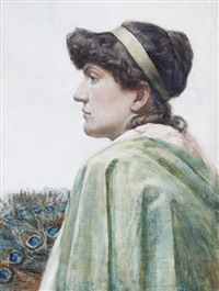 portrait of a lady in green by walter langley