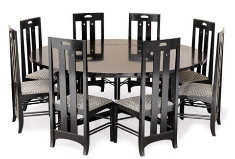 Dining Table And Eight Chairs Set Of 9 By Charles Rennie Mackintosh