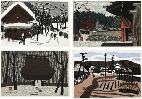 winter in aizu autumn in aizu saga kyoto harvesting set of 4 by kiyoshi saito