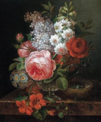 blumenstrauß in einer gläsernen vase by cornelis van spaendonck