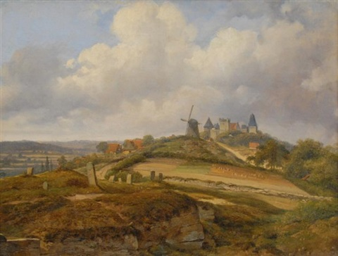 view of a french village by georges michel