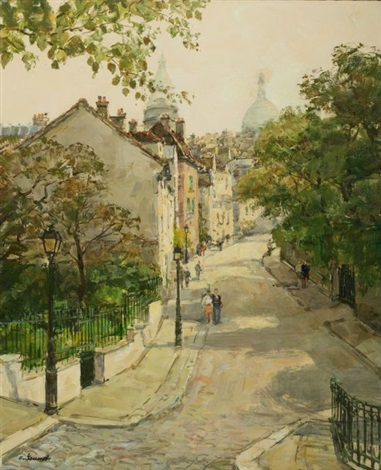 paris city scene montmartre by claude jousset