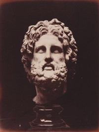 aesculapius, tête sculptée antique du dieu de la médecine, british museum by w. a. mansell