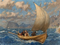 crossing the fjord in a breeze by hans dahl