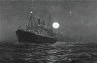 fartyg från svenska amerikalinjen i månsken by arvid magnus ahlberg