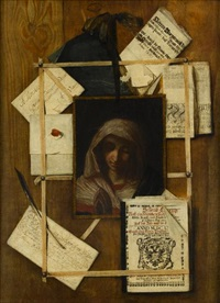 a trompe l'oeil with documents, letter, book and painting of the madonna (after giovanni battista salvi) by andrea domenico remps