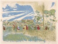 a travers champs, 1 des 12 planches de l'album paysages et intérieurs by edouard vuillard