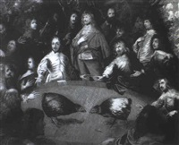 charles i and cavaliers attending a cockfight by isaac fuller